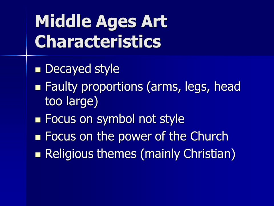 Middle Ages Art Characteristics
