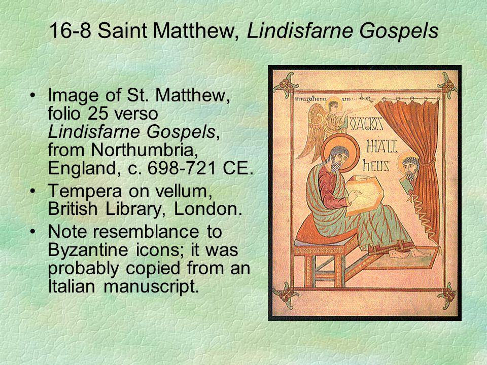 16-8 Saint Matthew, Lindisfarne Gospels