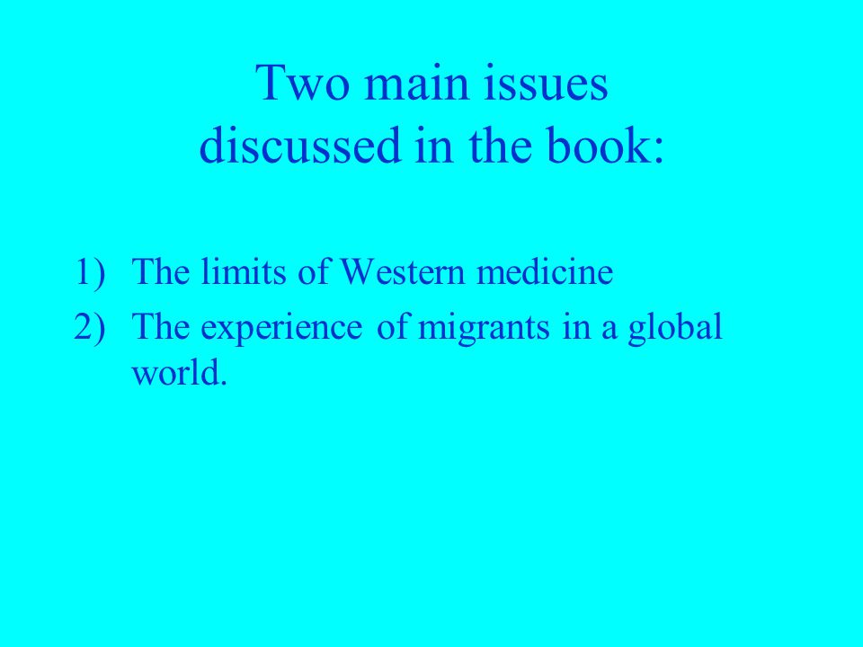Two main issues discussed in the book: