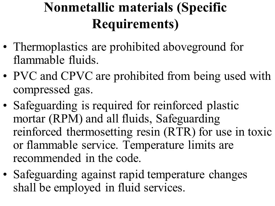 Nonmetallic materials (Specific Requirements)