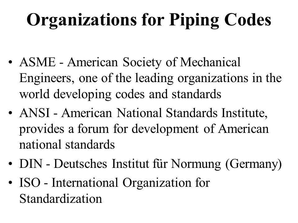 Organizations for Piping Codes