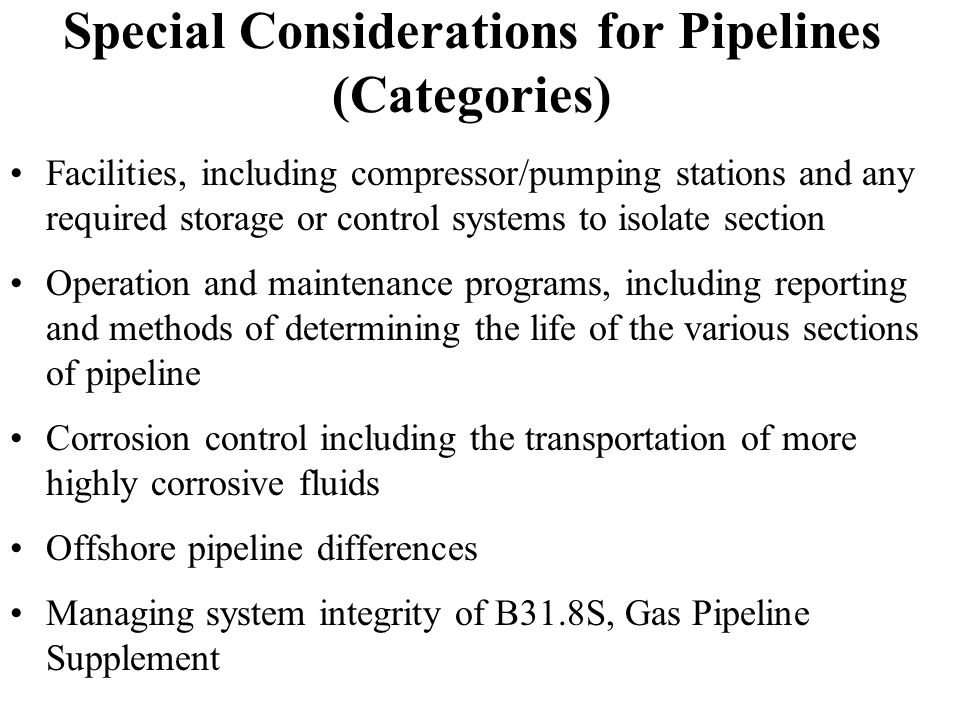 Special Considerations for Pipelines (Categories)