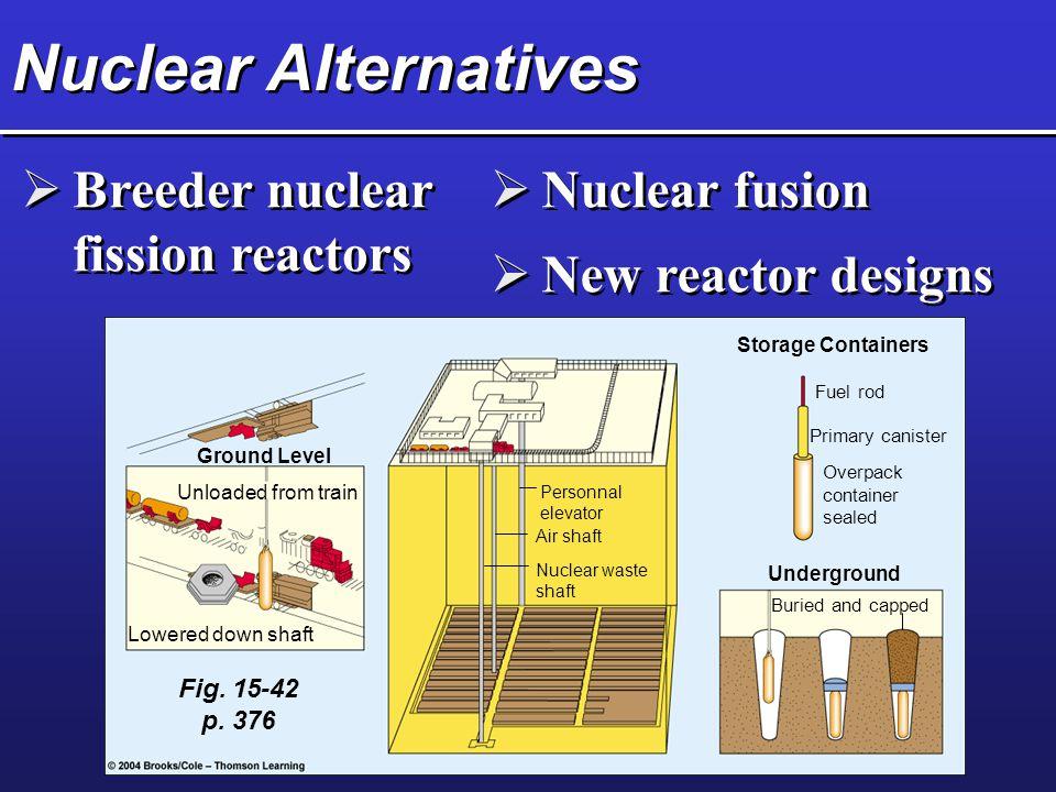 Nuclear Alternatives Breeder nuclear fission reactors Nuclear fusion