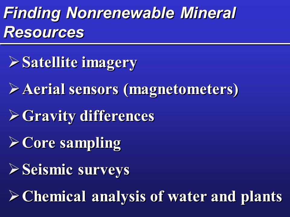 Finding Nonrenewable Mineral Resources