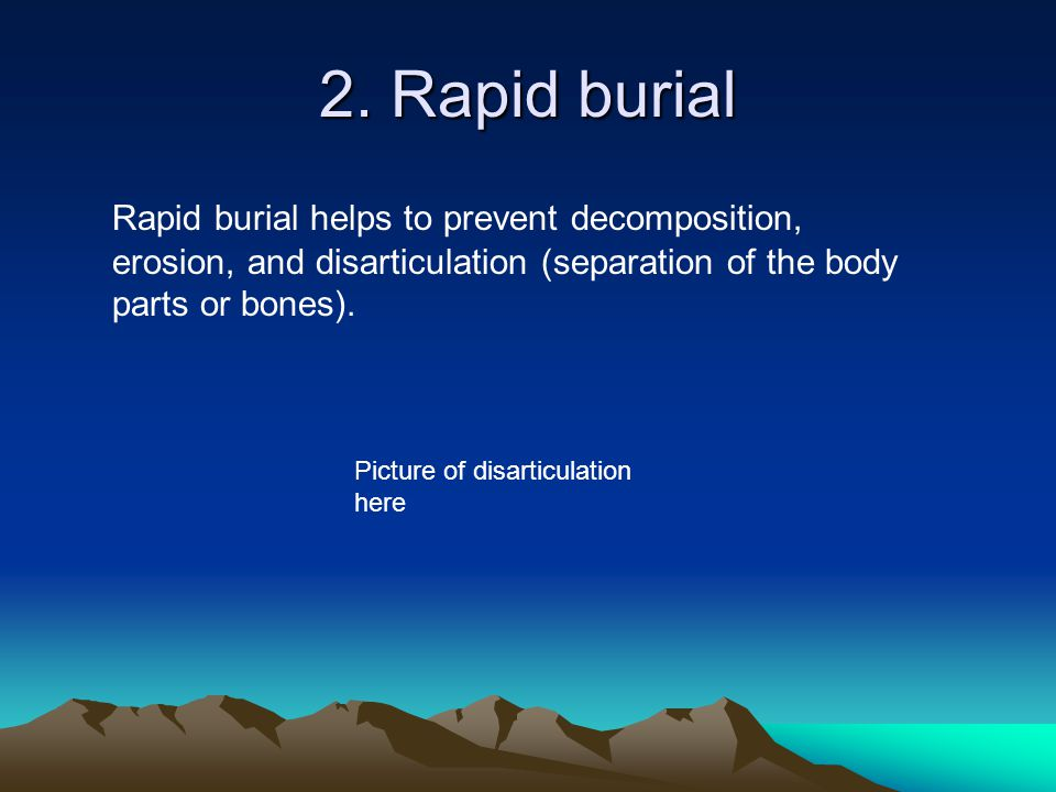 2. Rapid burial Rapid burial helps to prevent decomposition, erosion, and disarticulation (separation of the body parts or bones).