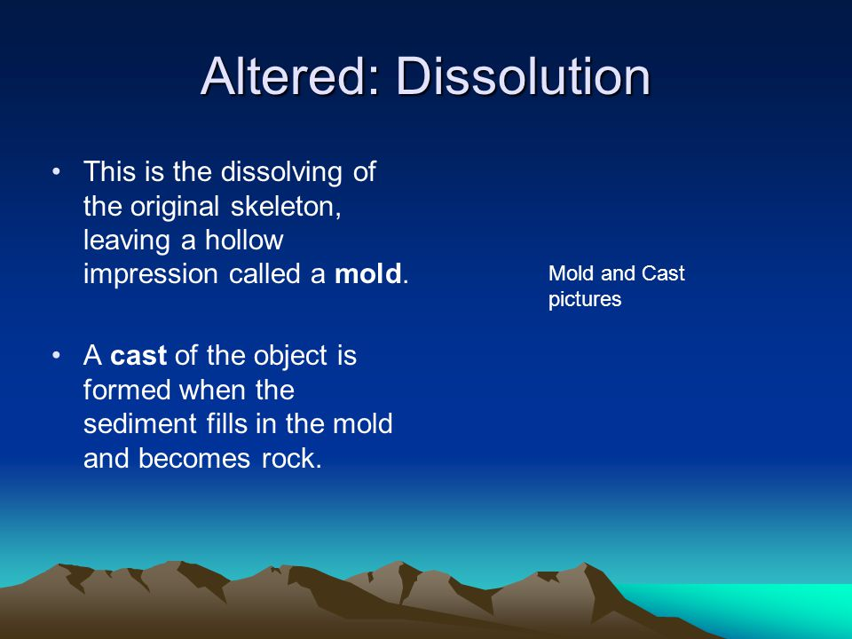Altered: Dissolution This is the dissolving of the original skeleton, leaving a hollow impression called a mold.