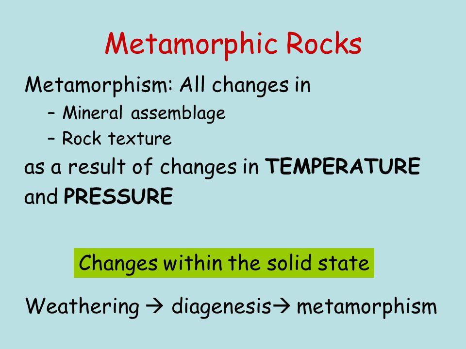 Metamorphic Rocks Metamorphism: All changes in