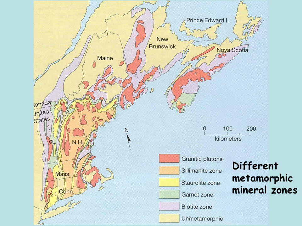 Different metamorphic mineral zones