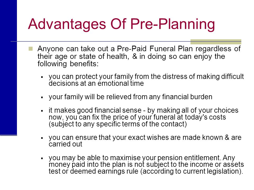 Advantages Of Pre-Planning