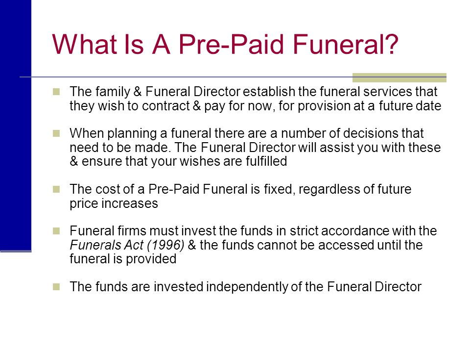 What Is A Pre-Paid Funeral