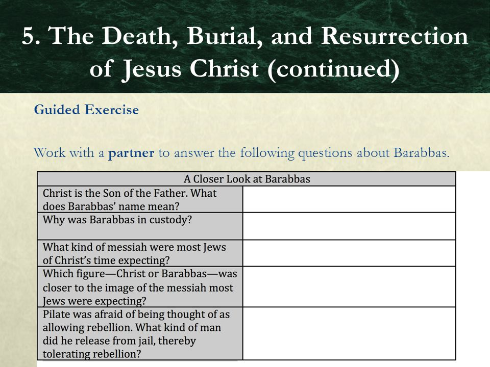5. The Death, Burial, and Resurrection of Jesus Christ (continued)