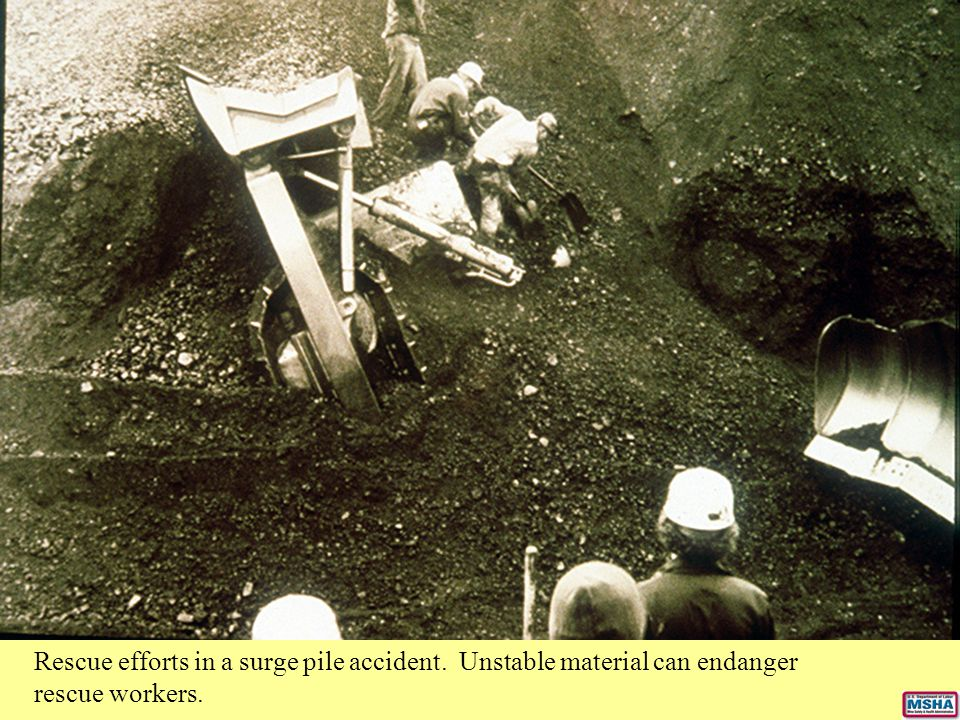 Rescue efforts in a surge pile accident