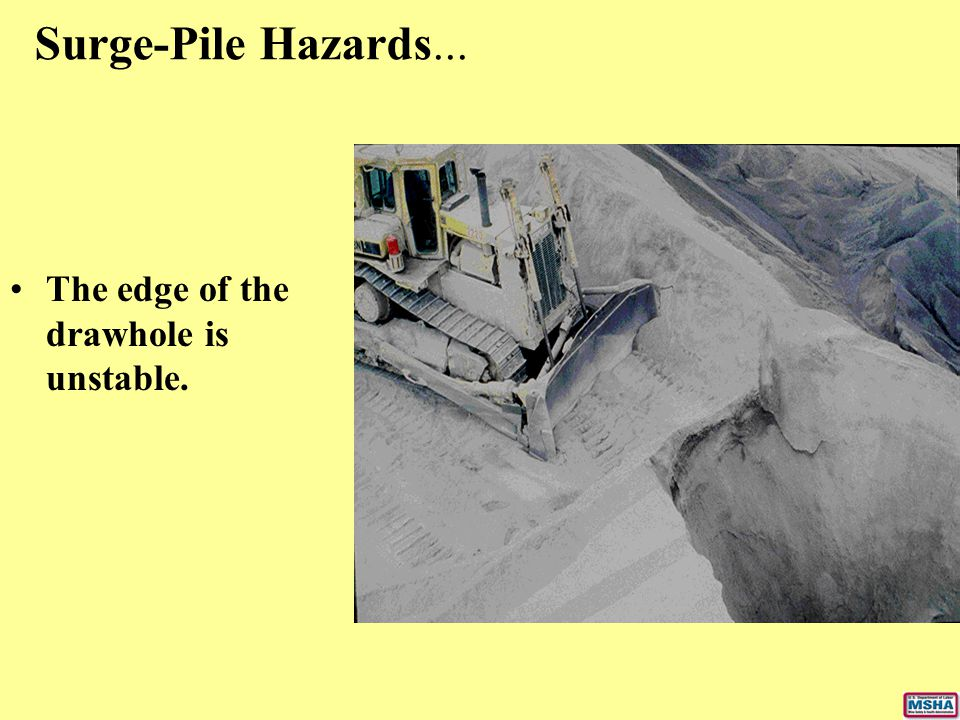 Surge-Pile Hazards... The edge of the drawhole is unstable.