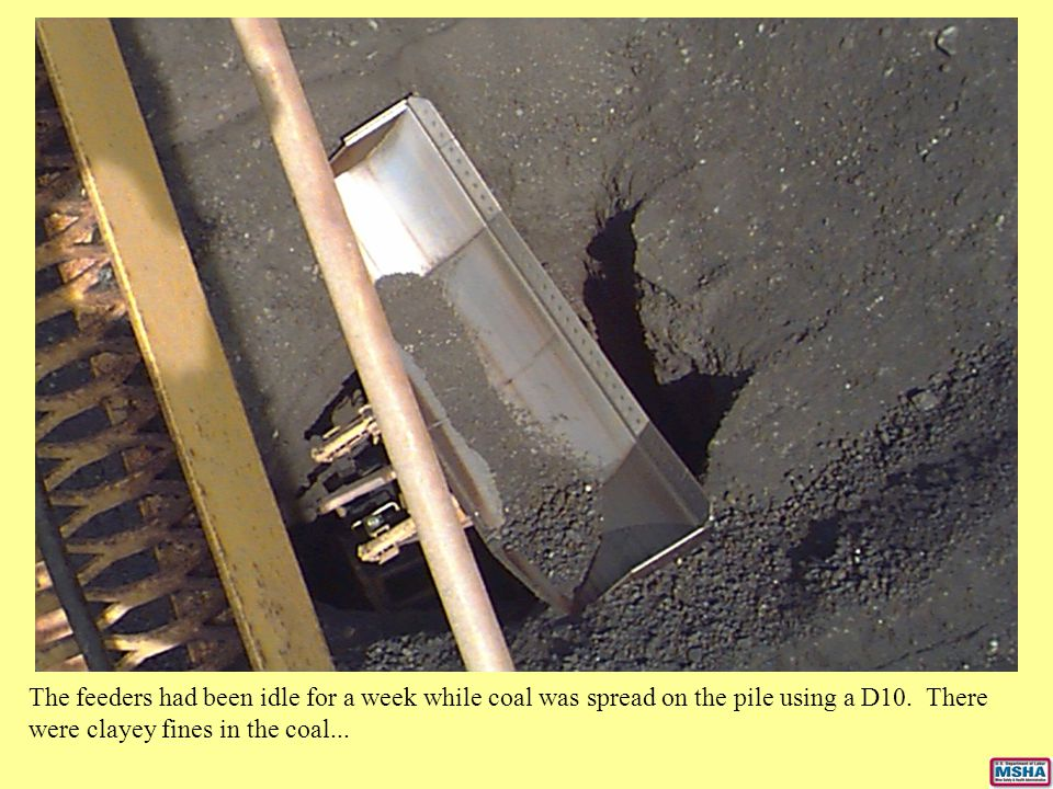 The feeders had been idle for a week while coal was spread on the pile using a D10.