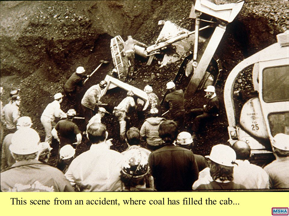 This scene from an accident, where coal has filled the cab...