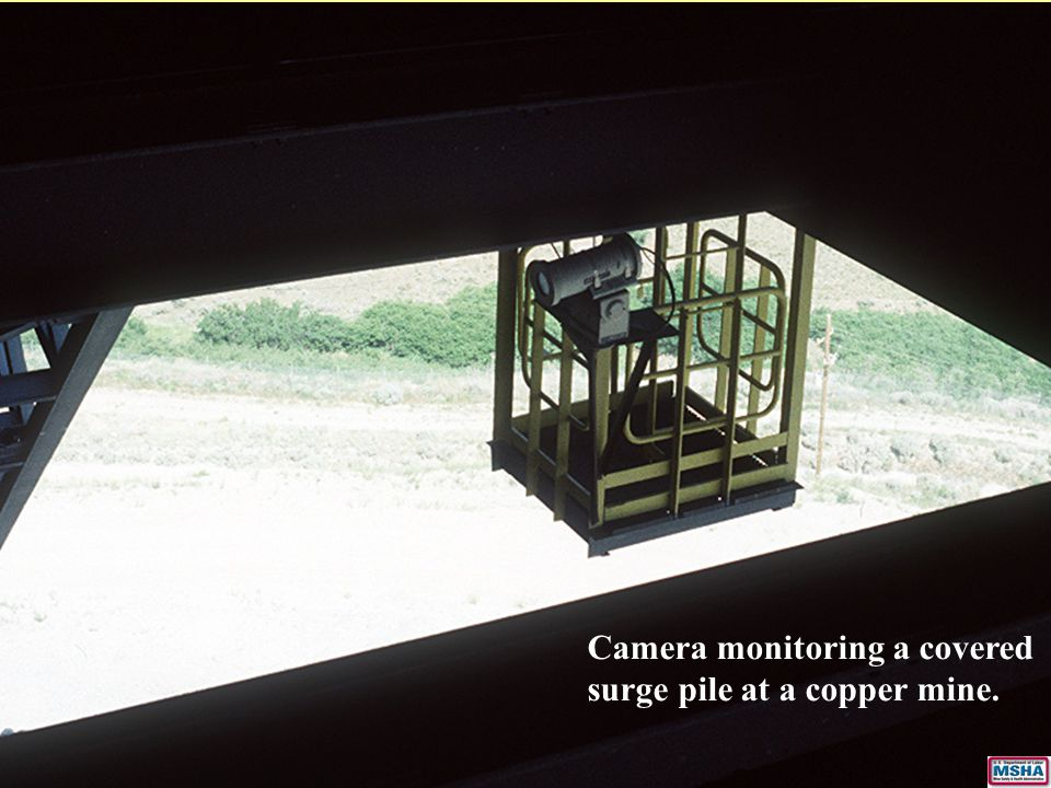 Camera monitoring a covered surge pile at a copper mine.