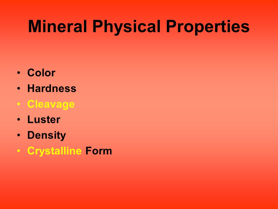 Mineral Physical Properties