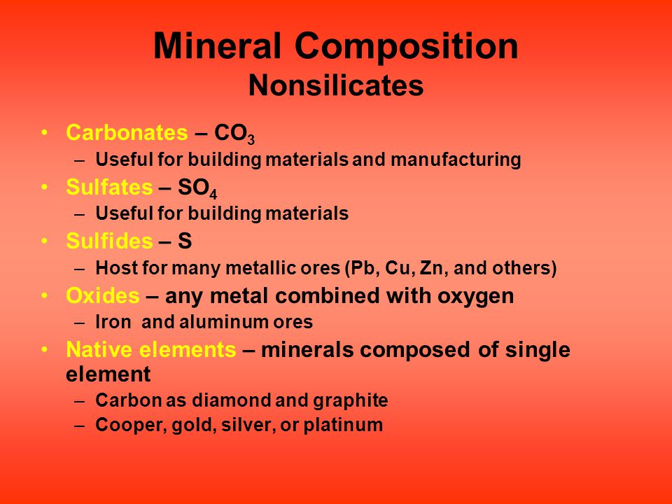 Mineral Composition Nonsilicates