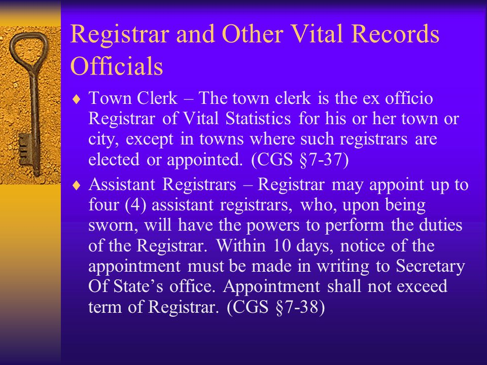 Registrar and Other Vital Records Officials
