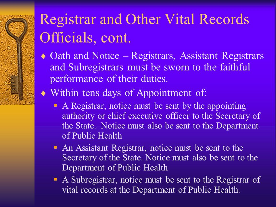 Registrar and Other Vital Records Officials, cont.
