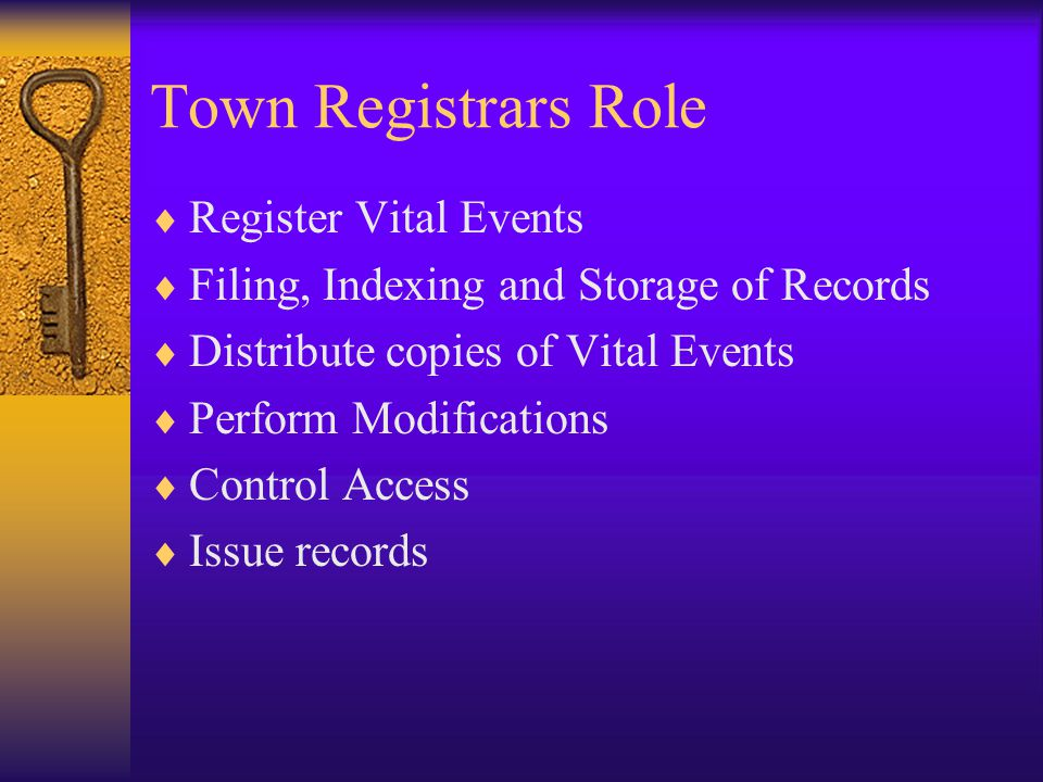 Town Registrars Role Register Vital Events
