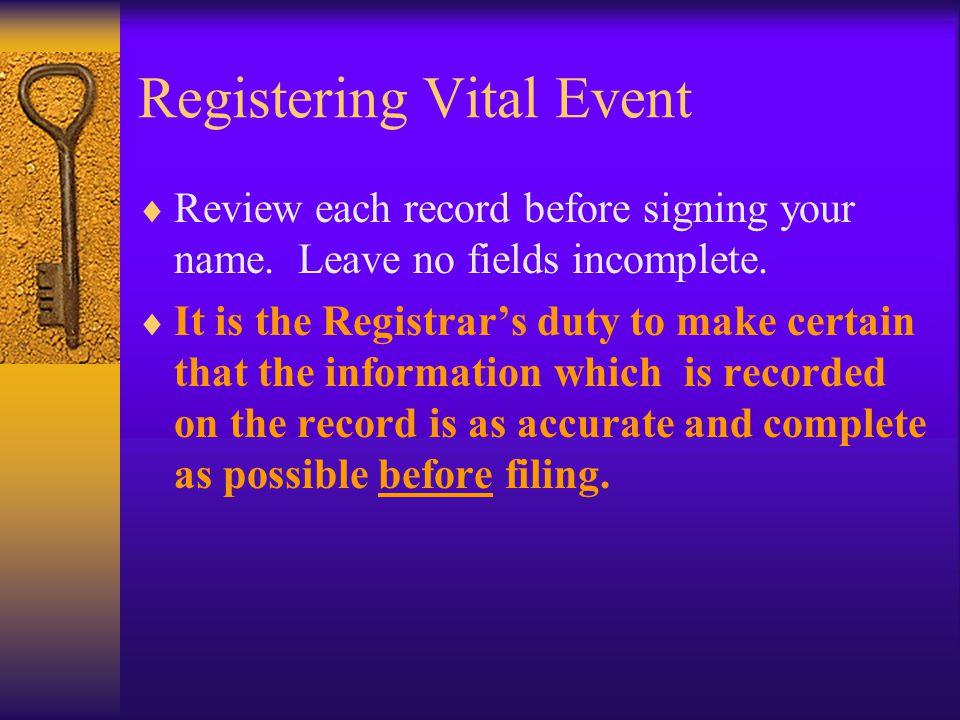 Registering Vital Event