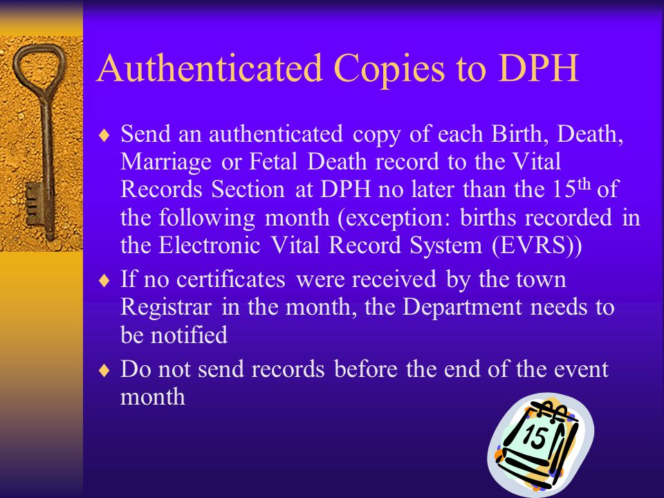 Authenticated Copies to DPH