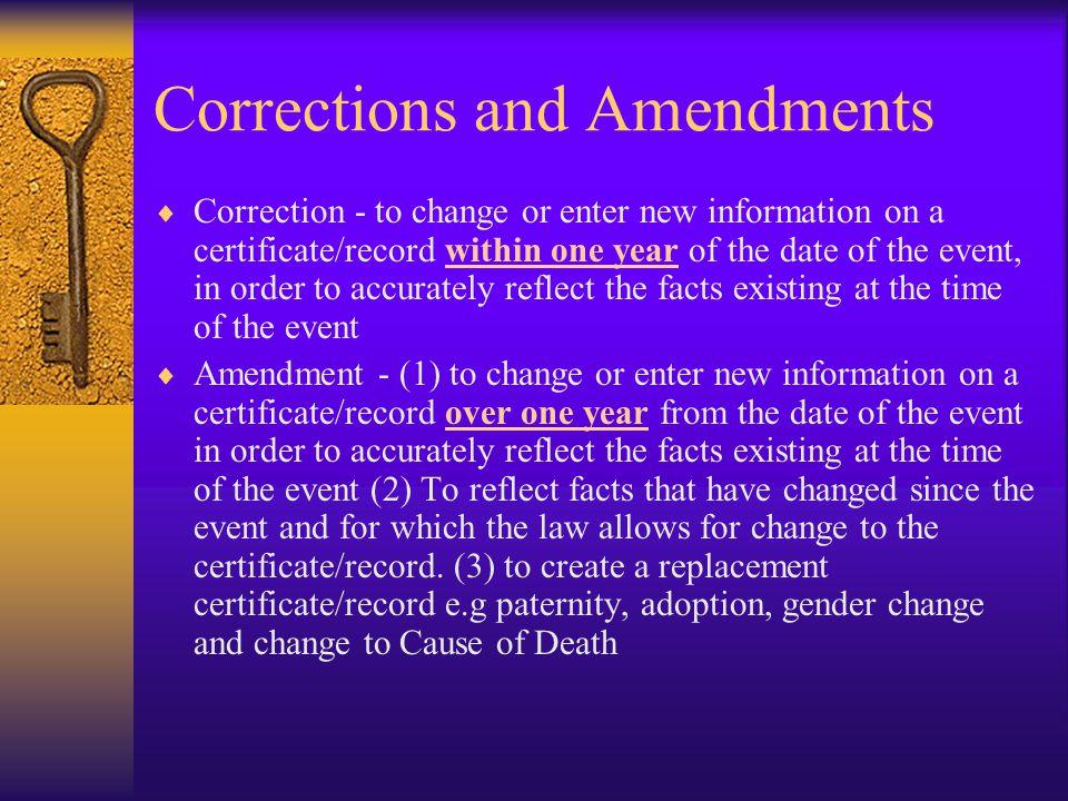 Corrections and Amendments