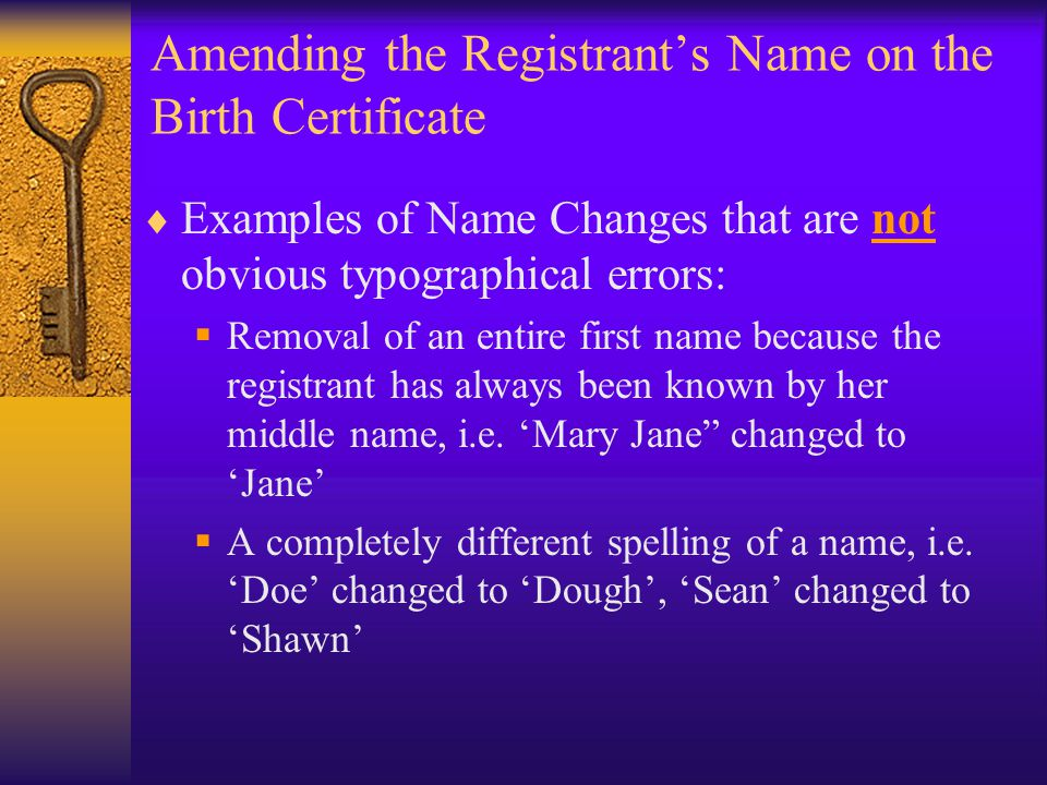 Amending the Registrant's Name on the Birth Certificate