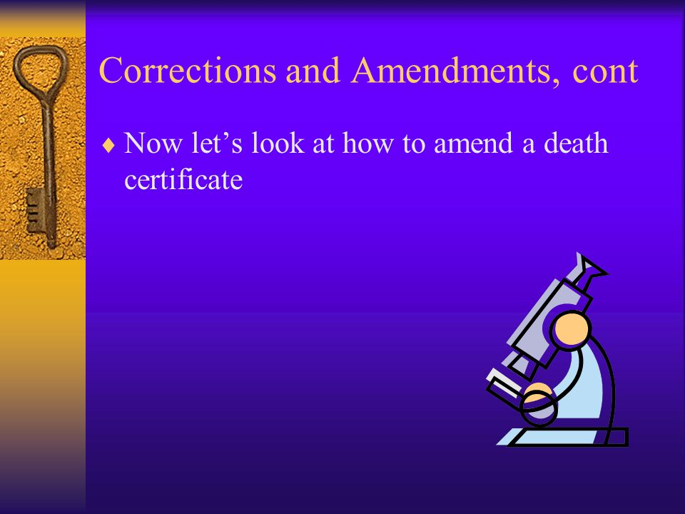 Corrections and Amendments, cont