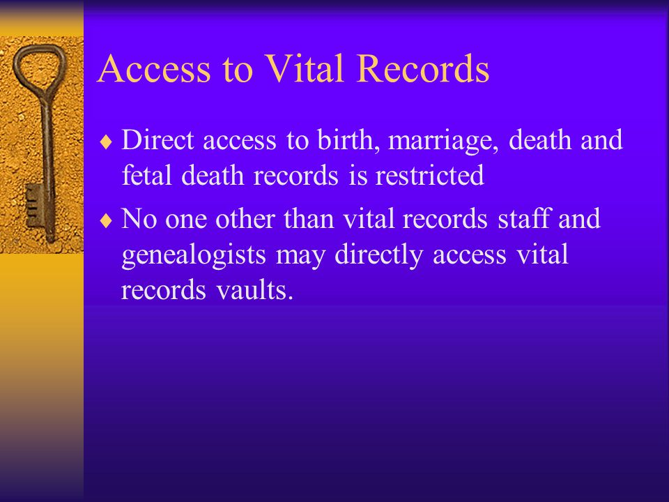 Access to Vital Records
