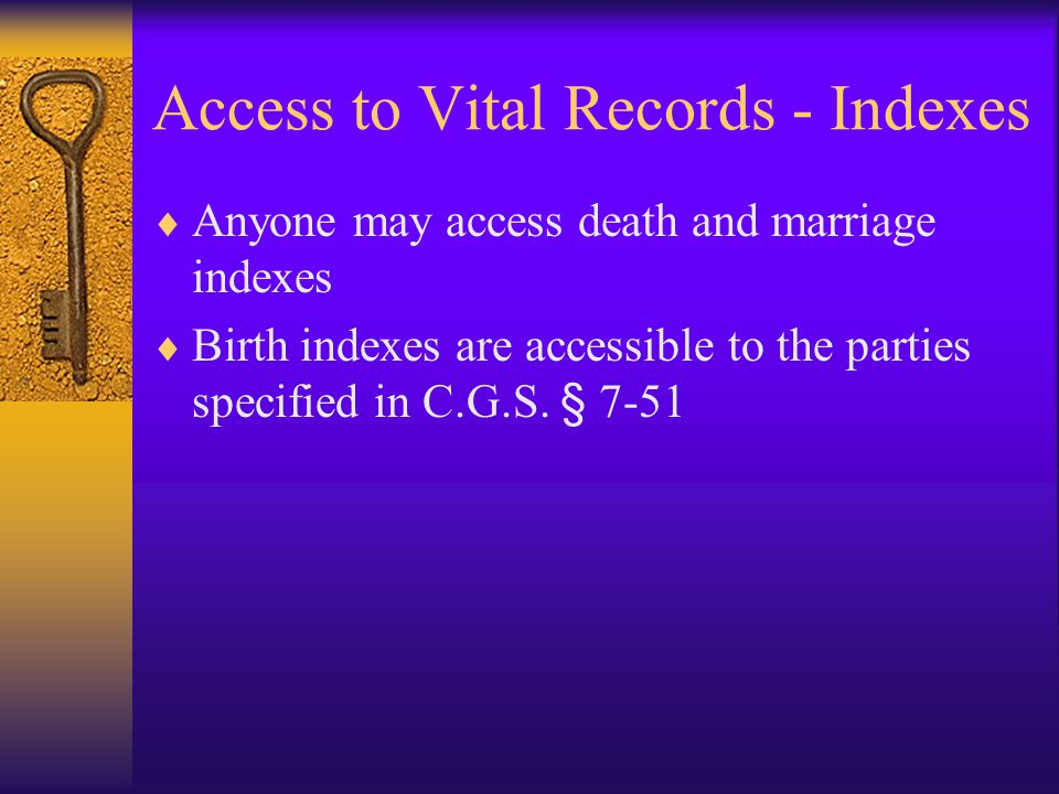 Access to Vital Records - Indexes