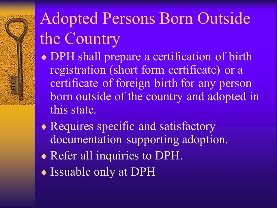 Adopted Persons Born Outside the Country