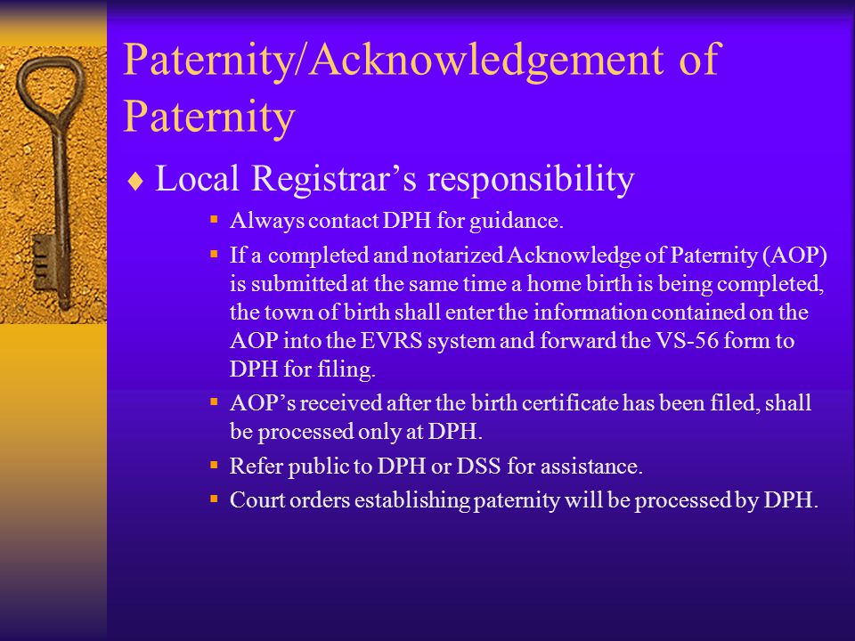 Paternity/Acknowledgement of Paternity