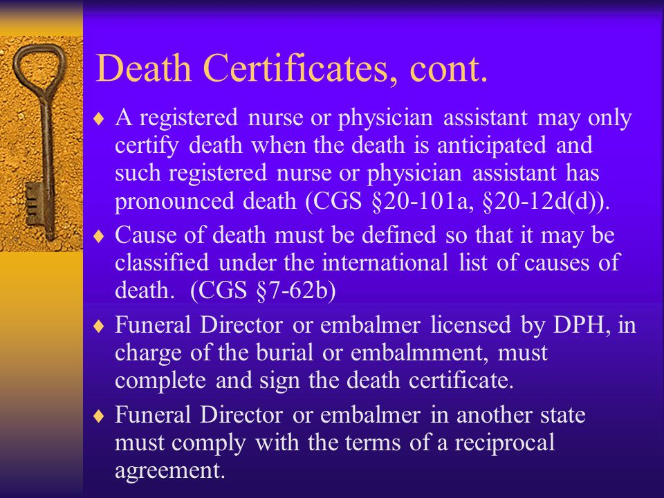 Death Certificates, cont.