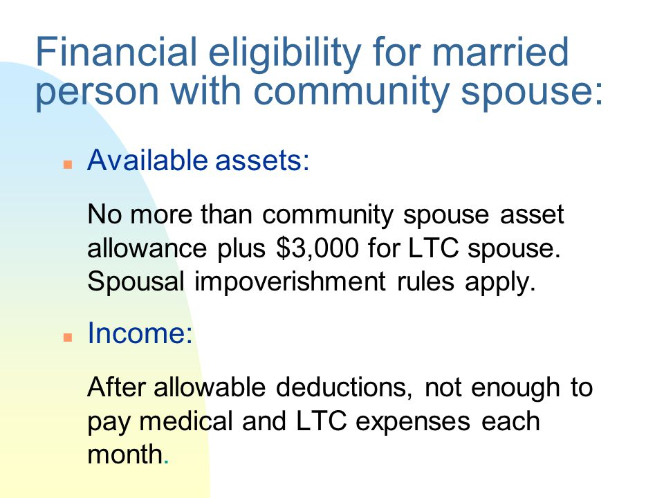 Financial eligibility for married person with community spouse: