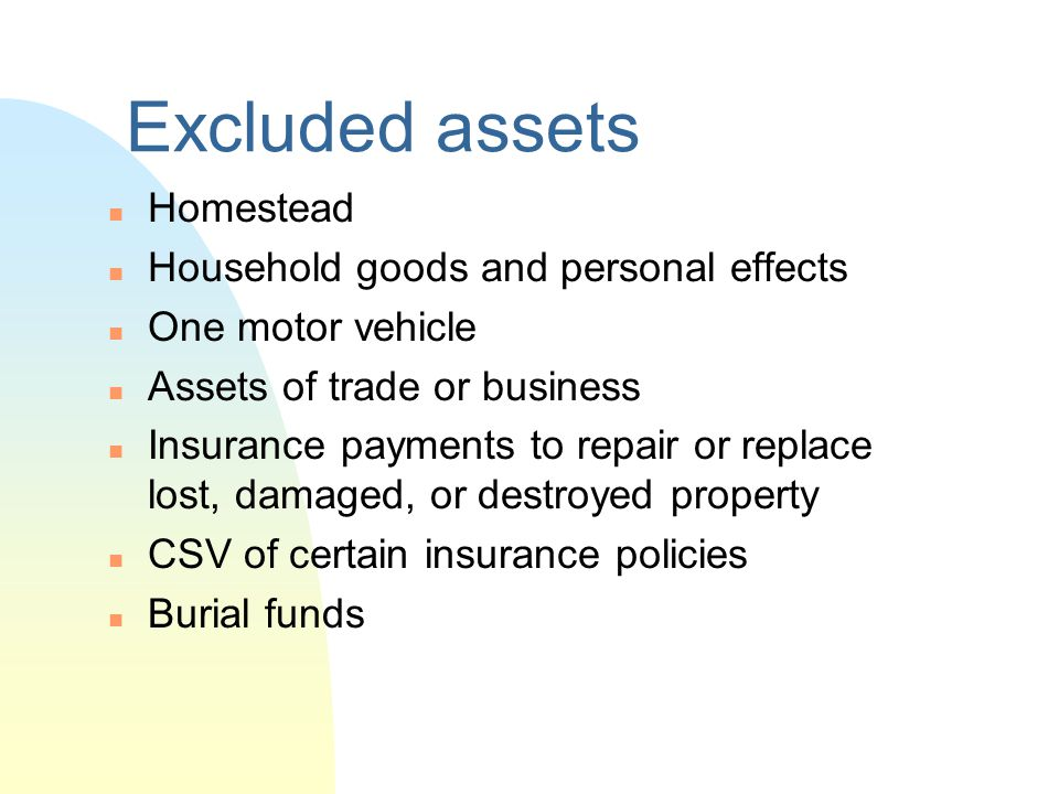 Excluded assets Homestead Household goods and personal effects