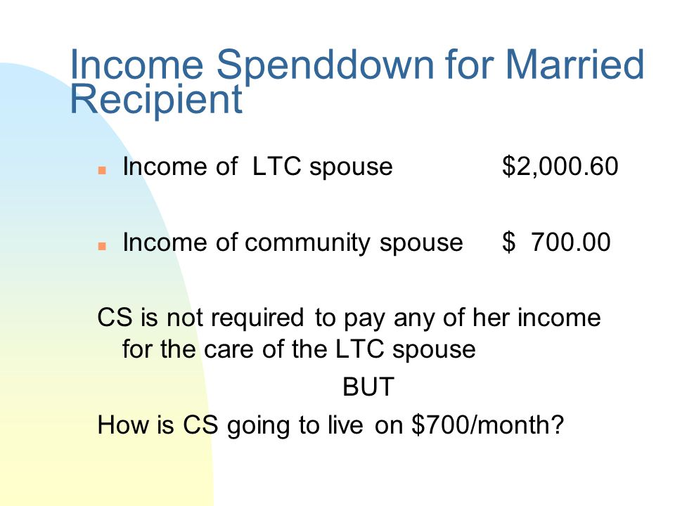 Income Spenddown for Married Recipient