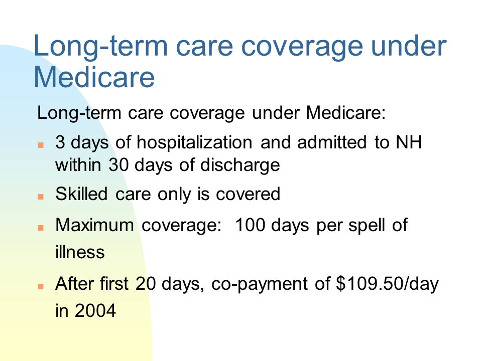 Long-term care coverage under Medicare