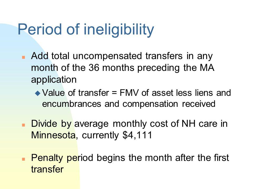 Period of ineligibility