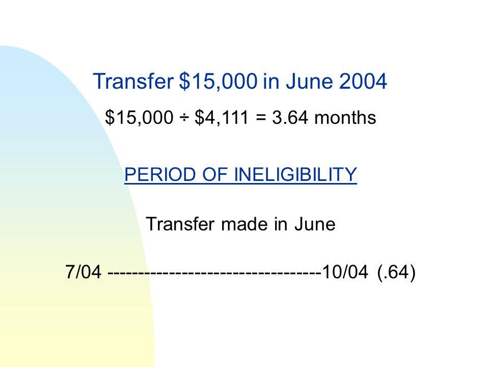 Transfer $15,000 in June 2004 $15,000 ÷ $4,111 = 3.64 months