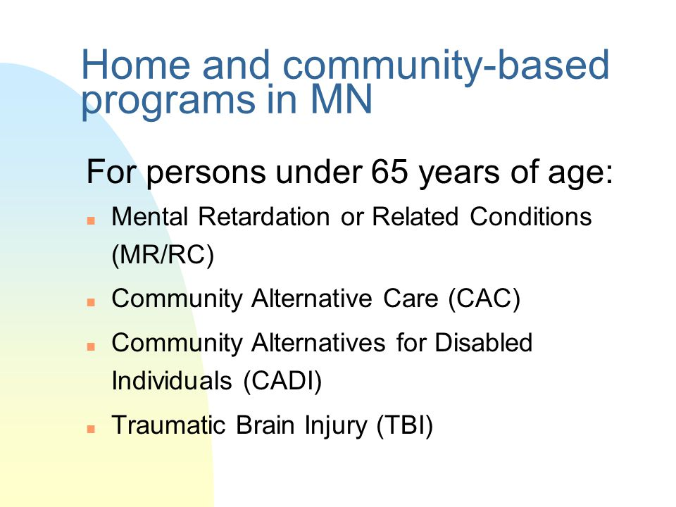 Home and community-based programs in MN