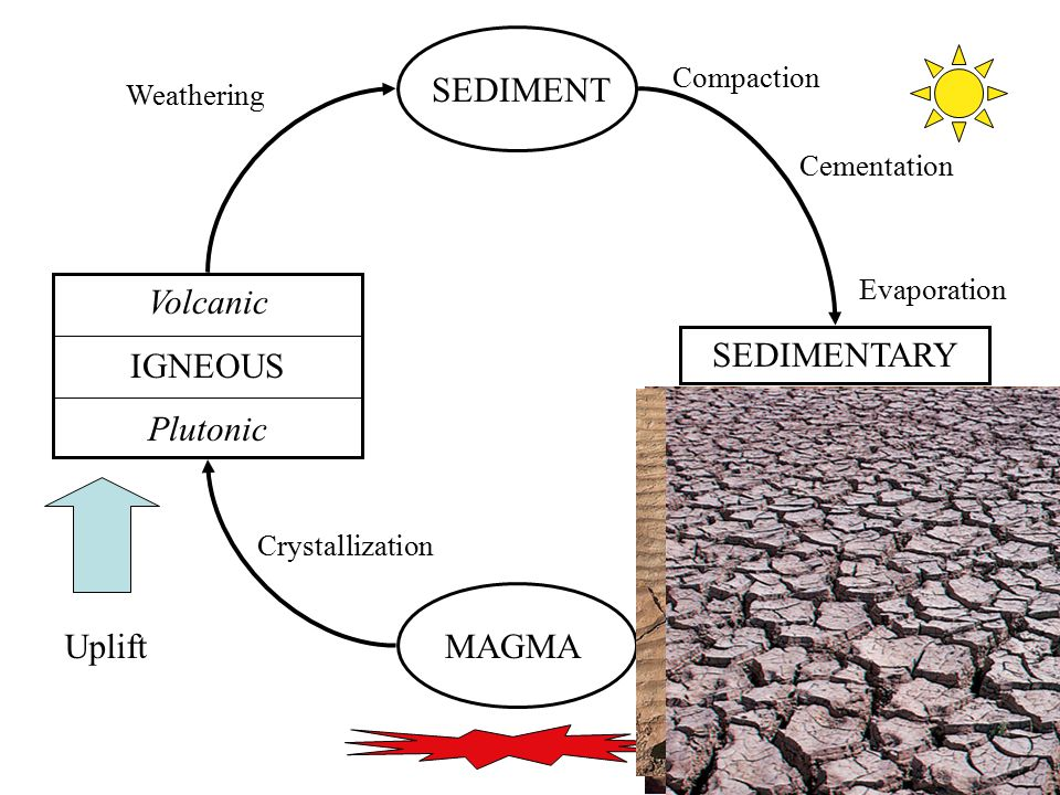 SEDIMENT Volcanic IGNEOUS Plutonic SEDIMENTARY Uplift MAGMA Compaction