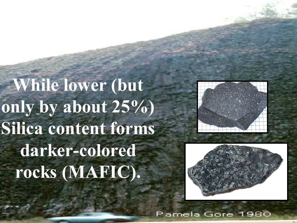 While lower (but only by about 25%) Silica content forms darker-colored rocks (MAFIC).