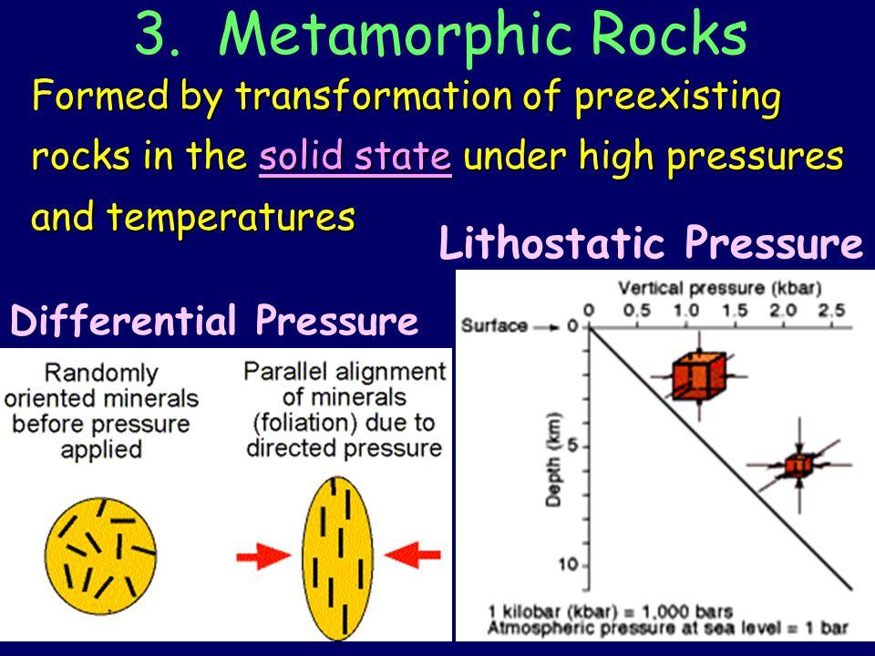 3. Metamorphic Rocks Lithostatic Pressure Differential Pressure