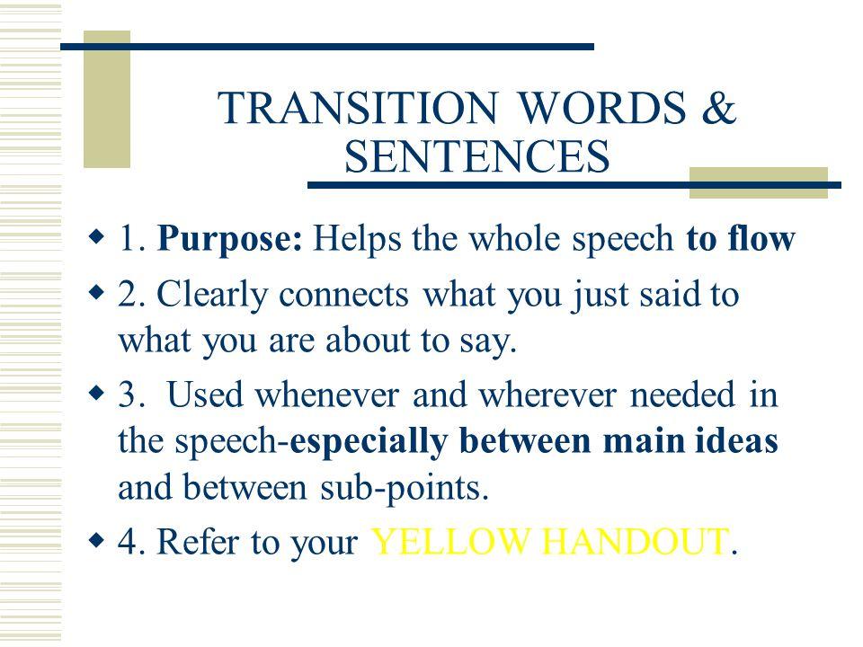 TRANSITION WORDS & SENTENCES