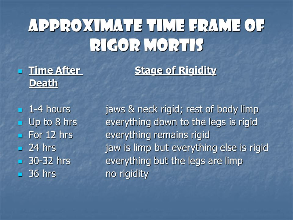 Approximate Time Frame of Rigor Mortis