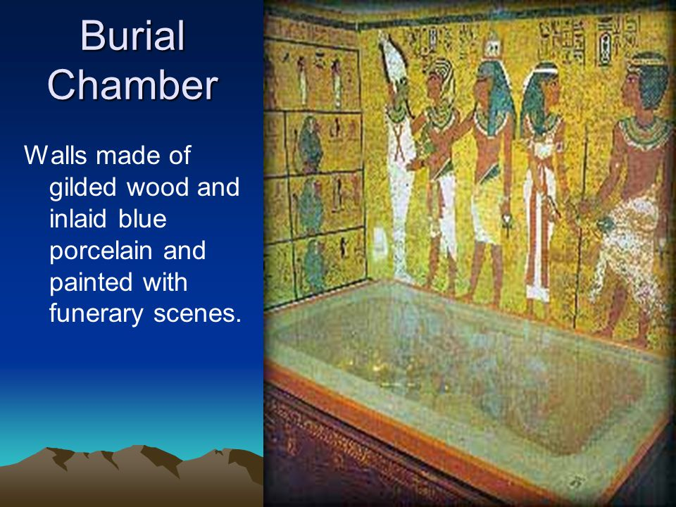 Burial Chamber Walls made of gilded wood and inlaid blue porcelain and painted with funerary scenes.