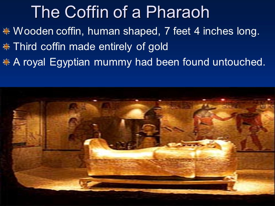 The Coffin of a Pharaoh Wooden coffin, human shaped, 7 feet 4 inches long. Third coffin made entirely of gold.