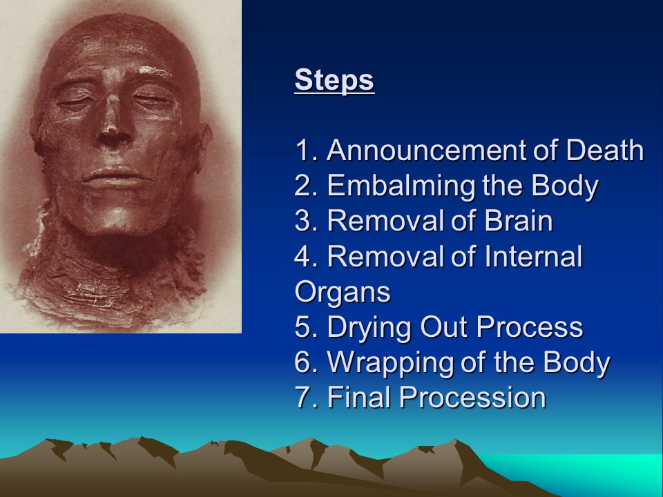 Steps 1. Announcement of Death 2. Embalming the Body 3